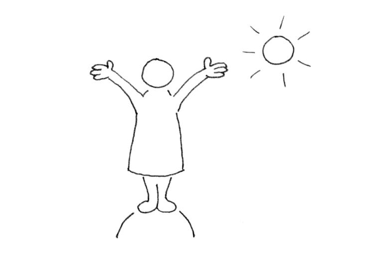 Eine abstrakt dargestellte Person steht auf einem Hügel und streckt die Hände der Sonne entgegen
