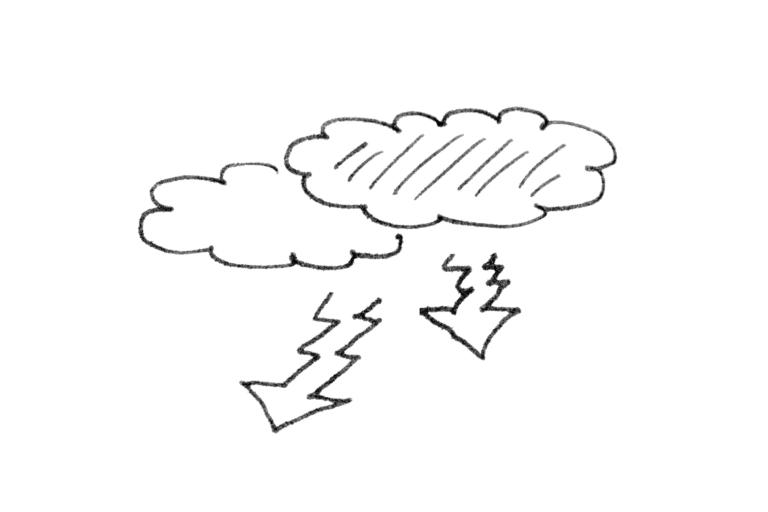 Zwei abstrakt dargestellte Gewitterwolken